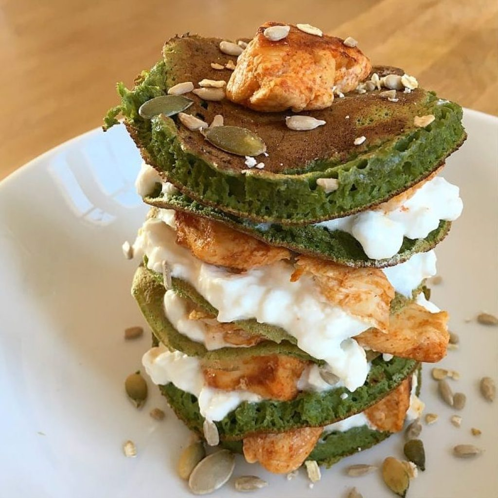 Smokey Chicken and Spinach Stack'a Pancakes